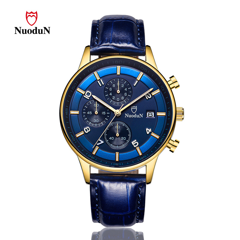 Nuodun Brand Men Watch Gold Plated Leather Strap Fashion Quartz Watches Mens Wristwatches Casual Clock Date Reloj Masculino reloj hombre curren gold watch men leather date day hours quartz casual watches mens rectangle wristwatches 30m waterproof 8097
