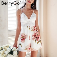 BerryGo White lace backless summer romper women Boho print hollow out bow beach macacao Sexy v neck beach short playsuit romper