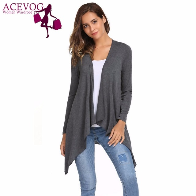 a6a56e61bb ACEVOG Women Cardigan Tops Autumn Spring Front Open Long Sleeve Solid  Floral Lace Patchwork Asymmetrical Hem Feminino Sweater