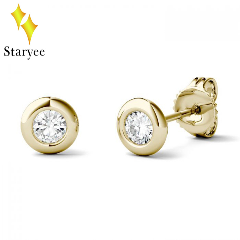Genuine 18K 750 Yellow Gold Screw Back Test Positive 0.1ct 3mm DEF VS Round Cut Moissanite Diamond Stud Ear Earrings For Women ...