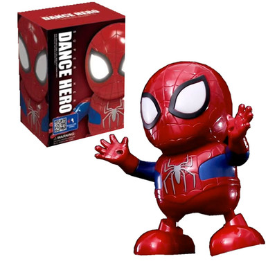 Dance Iron Man Spider Man Avengers Action Figure Toy LED Flashlight With Light Sound Music Robot Bumblebee Hero Electronic Toy