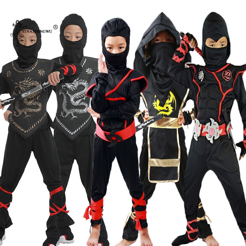Children Halloween Ninja Costumes Cosplay Boys Party Costumes Kids Japanese Anime Warrior  Ninja Assassin Game Cosplay Costume
