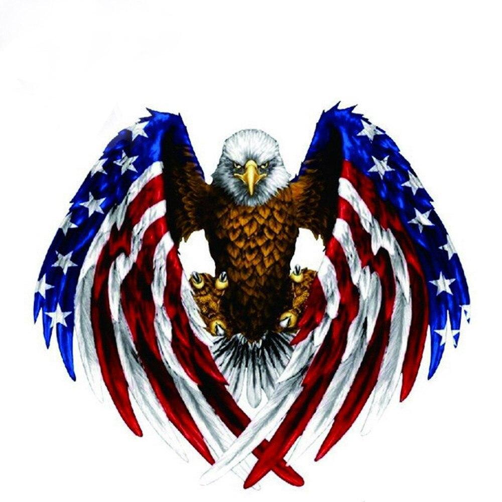 100/% Brand New  PVC Car Decal Flying Hawk Auto Truck Side Eagle USA Flag Sticker