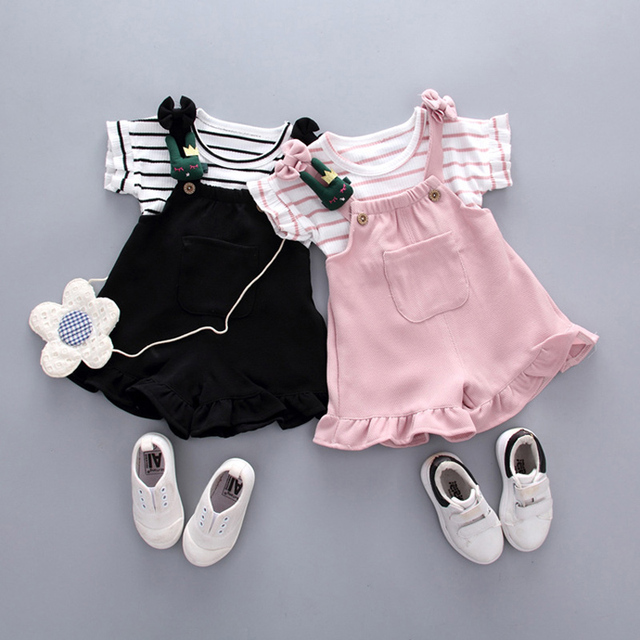 Baby Girl's Cotton Striped Top and Shorts Set