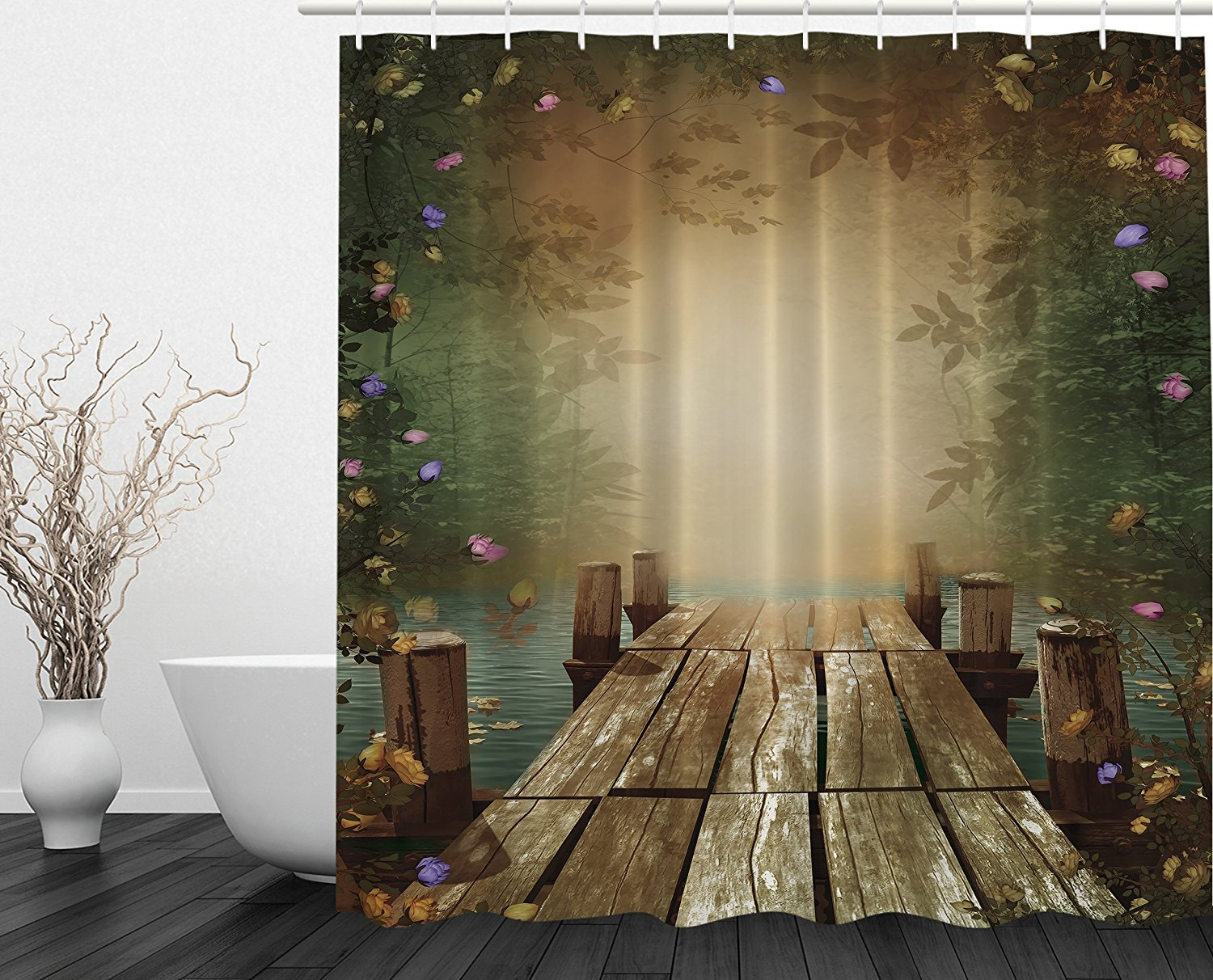 Romantic shower curtain - Going Away Gifts Fairy Tale Wooden Floating Dock Imaginary World Lilac Yellow Pink Roses Whimsical Romantic Shower Curtain