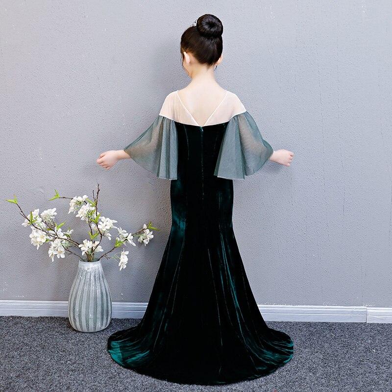 Velours enfants fille robe formelle longs résidus fleur fille robe Flare manches anniversaire Tutu robe de princesse sirène robes de fille - 4