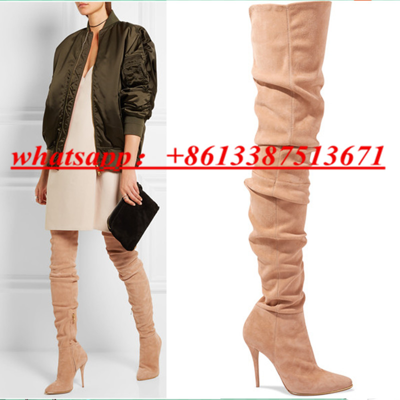 Fall Winter Women 110mm Slim Stretch Suede Over The Knee Boots Pointed Toe Zip Thin High Heel Thigh High Boots Shoes Woman fashion slim rivets thick heel pointed toe zip winter snow boots genuine leather stretch fabric over the knee boots women boots