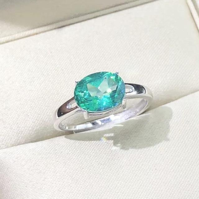 c1f6daff9c56 Anillo de piedras preciosas de corte esmeralda verde Real en plata de ley  hecho a mano