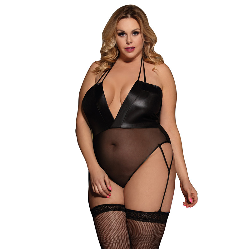 Backless Bodysuit Sexy Romper For Woman With Garter Halter Deep V Neck Leather Bodies Ladies Enteritos Mujer Verano R80473