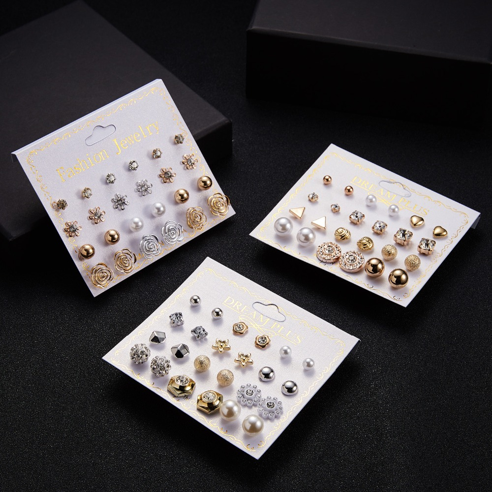 12 Pairs/set Stud Earrings Set With Card Transparent Zircon Balls Love Flowers Earrings Women Imulated Pearl Earrings Jewelry 9