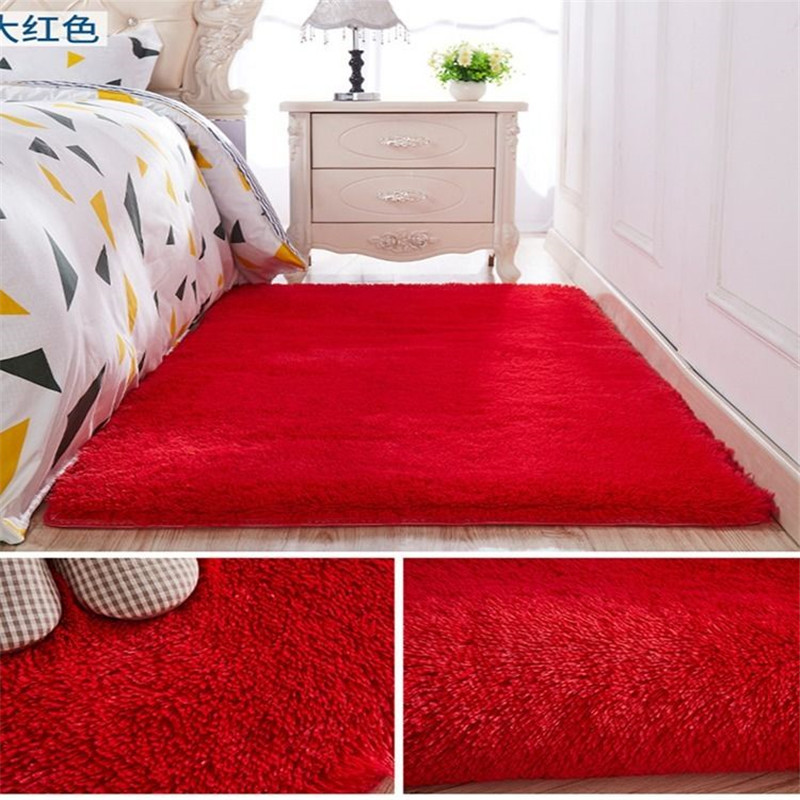 Bedroom Bedside Carpet Living Room Coffee Table Sofa Floor Mat Solid Color Plush Thickened Washed Silk Hair Non-slip Blanket