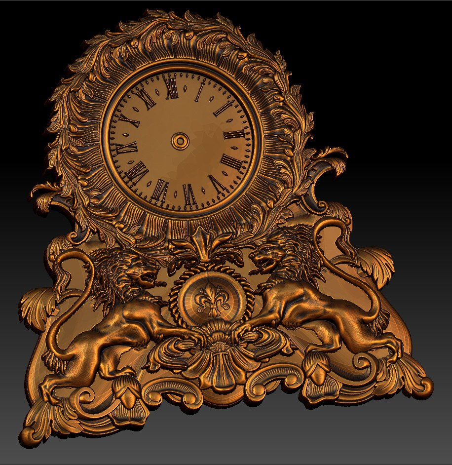 Digital File In STL Format Clock For CNC 3D Relief Carving Engraving C36-33