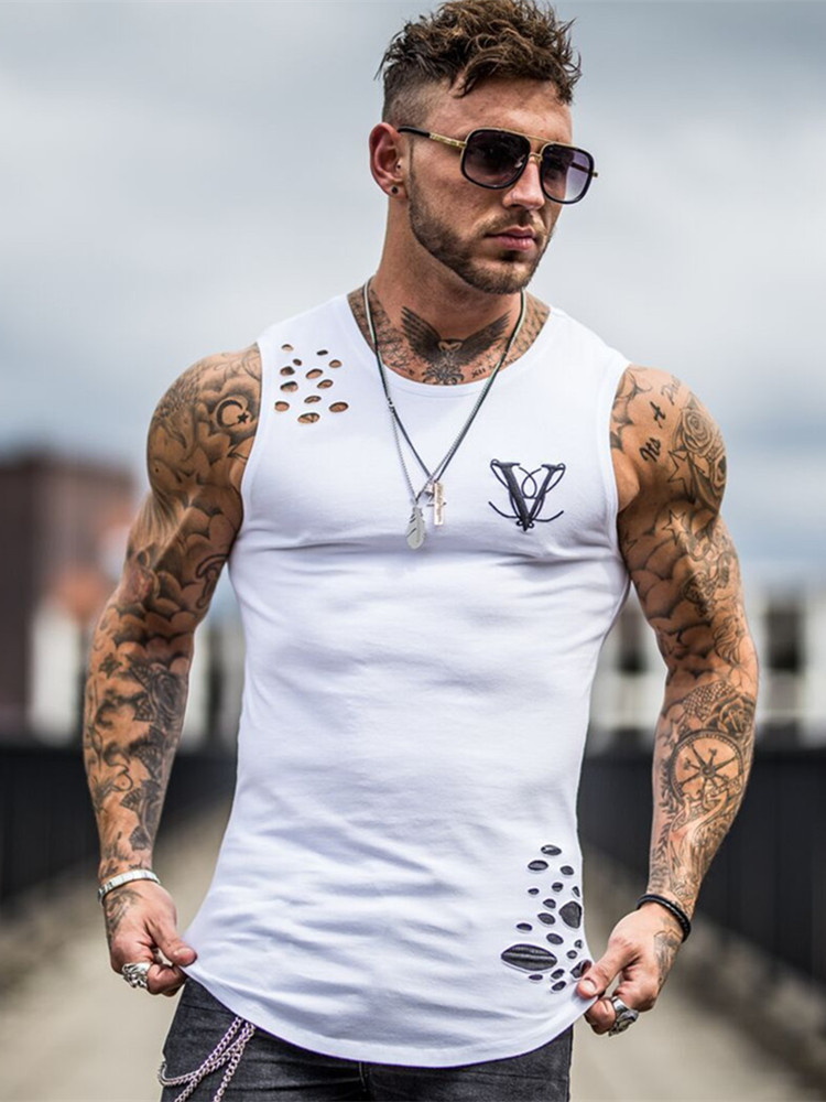 2019 Fashion hole Gyms Clothing Sporting Singlet Bodybuilding Stringer Tank Top Men Fitness Shirt Muscle Sleeveless Vest Tanktop
