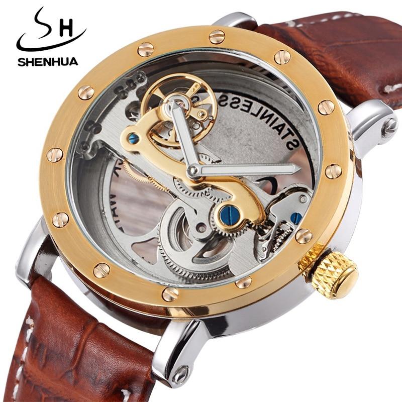 Antique Tourbillon Luxury Men's Automatic Watches Transparent Mechanical WristWatch relogios masculino Male Leather Strap New цена