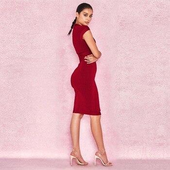 Высокое качество, сексуальное женское красное платье с глубоким V-образным вырезом, без бретелек, бриллианты, мини Бандажное платье для вече...