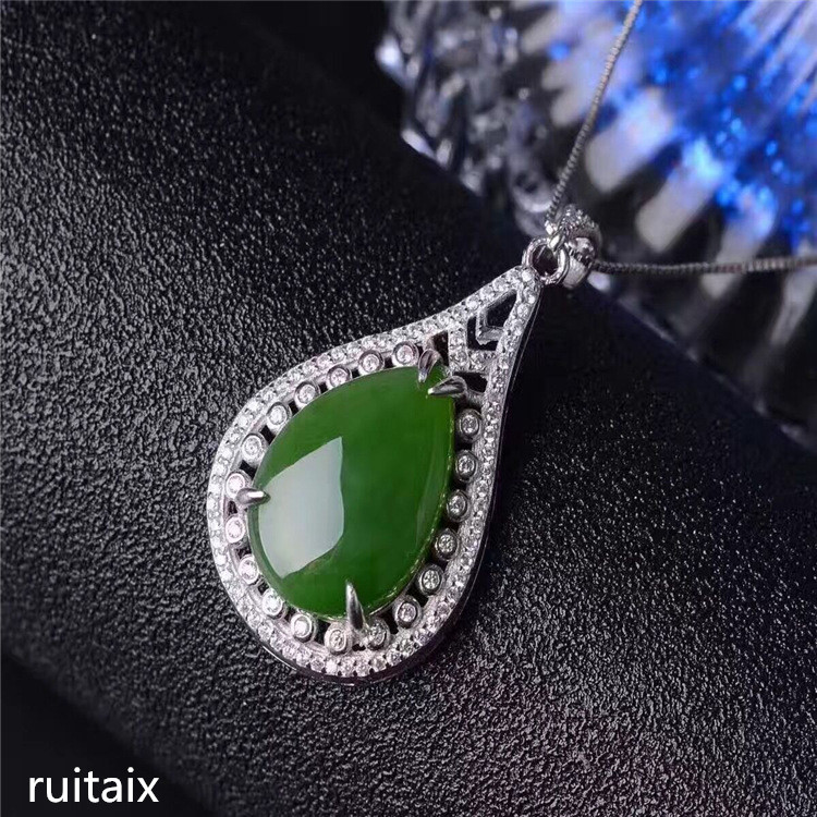 KJJEAXCMY boutique jewels S925 Pure silver inlay natural jade lady pendant + necklace dripping jewelry plant leaves kjjeaxcmy boutique jewelry s925 pure silver white yellow green chalcedony pomegranate red jade silver antique simple