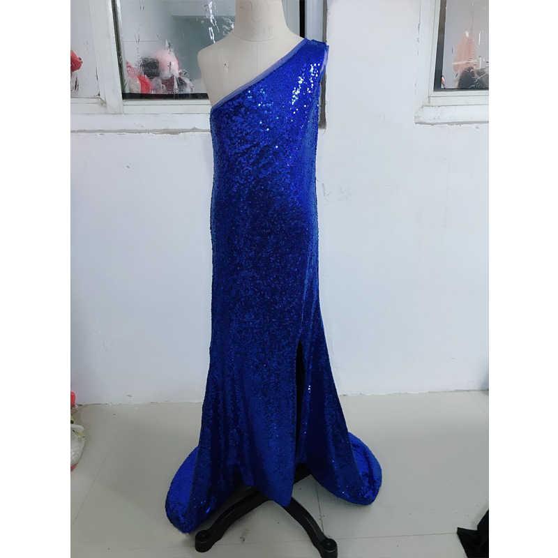 Akşam elbise çocuklar siyah pullu Mermaid elbise yaşı 3-14 yıl genç kızlar tek omuz asil mezuniyet elbise parti Frocks
