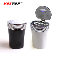 VOLTOP LED Car Cup Holder Ashtray Cigar Cigarette Ash Storage Box Cylinder Practical Home Office Auto