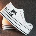 Women's White Shoes 2016 Breathable Cat Print Girls Platform Canvas Shoes Women Casual Trainers Thick Sole Shoe Ladies
