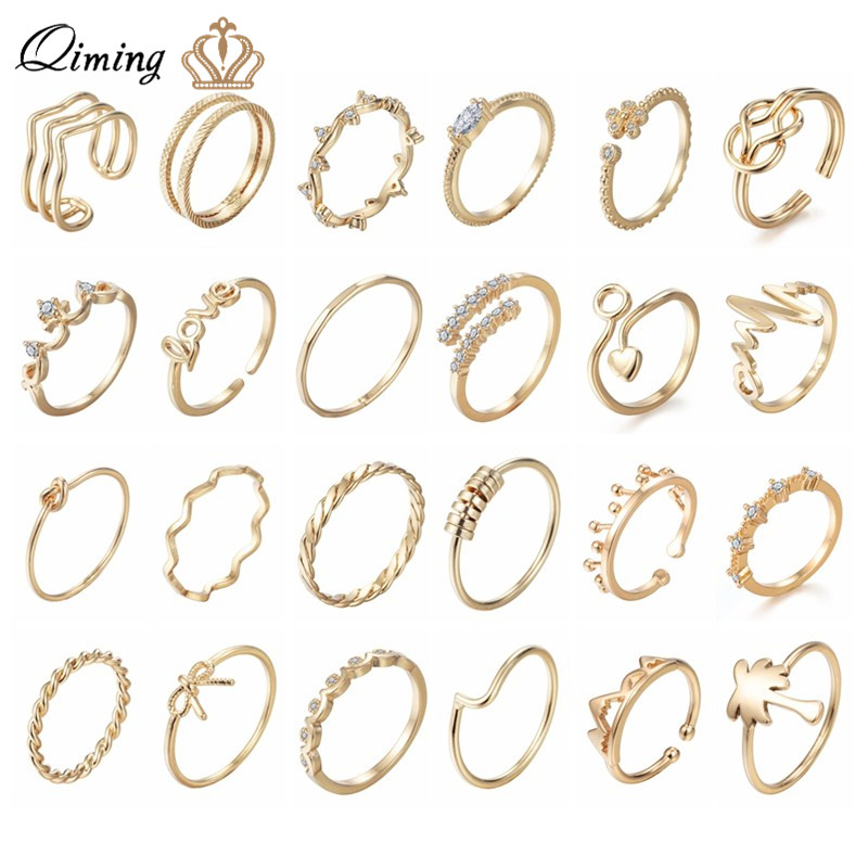 QIMING Korean Finger Toe Ring Women's Gold Fashion Wedding Jewelry CZ Crystal Midi Rings Minimalism Knuckle Ring Girls Gift
