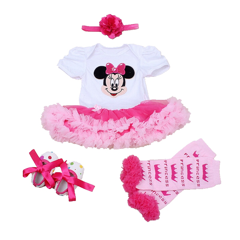 Minnie Bebe Newborn Baby Girl Clothes Lace Petti Rompers Dress Headband Crib Shoes Legwarmers Minni Set Tutu Infant Clothing