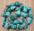 "shitou 00344 Big 12-16mm Genuine Green Turquoise Nugget Loose Beads 15"" 5pc"