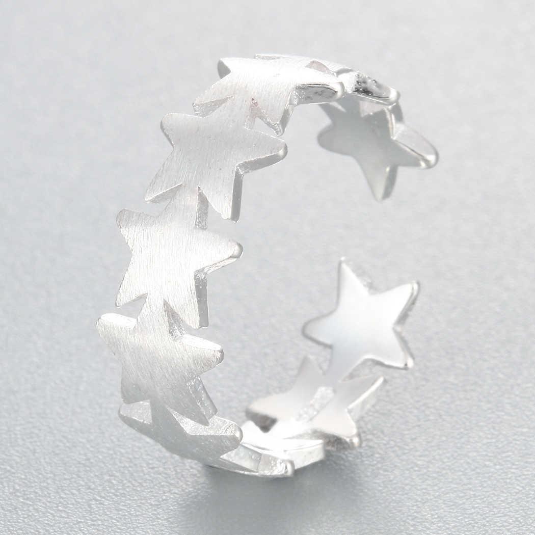 Очаровательное женское кольцо со звездами, размеры для женщин, размеры Midi Finger, кольца из стерлингового серебра 925, Bague, Штабелируемый гипоаллергенно, ювелирные изделия для тела