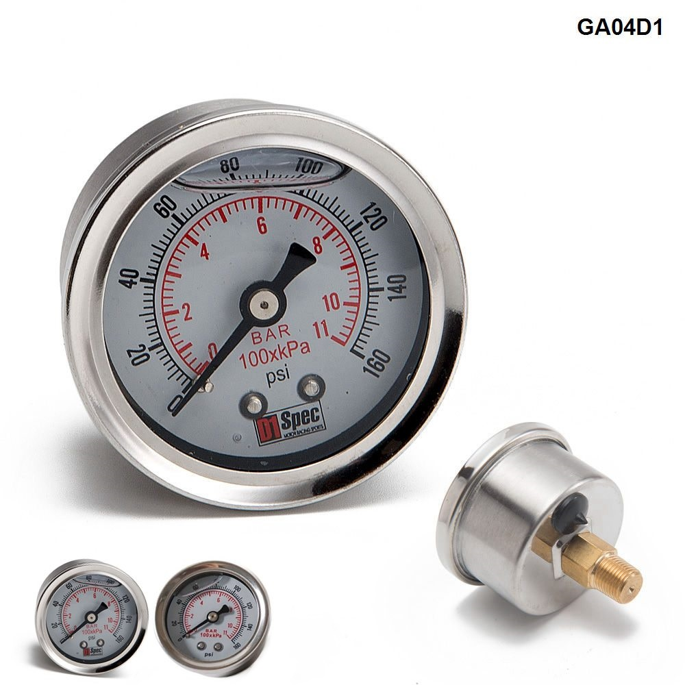 Car Fuel Pressure Regulator Gauge Fit with 1//8 NPT Threads /& 90 Degree Fitting