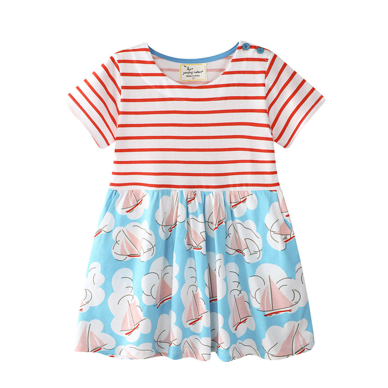 3b665586a4fc Jumping Meters New striped Boats baby girl dresses cotton children ...