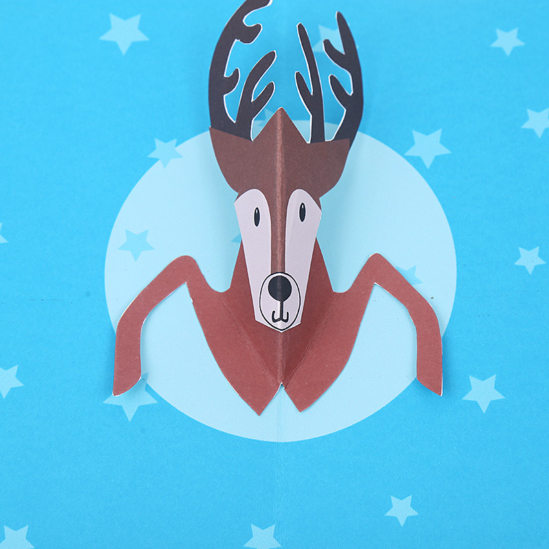 Aliexpress 11 11 Christmas greeting card color blessing card 3d handmade paper card deer new year Christmas card aliexpress v