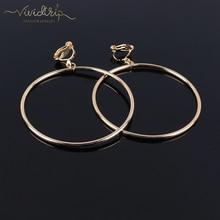 Classic Geometric Round Clip on Earrings No Pierced Ear Clip Metal Simple Big Earring for Women Party Minimalist Fashion Jewelry