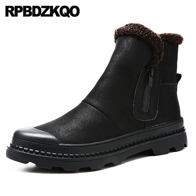 Black Winter Men Boots With Fur Casual Booties High Sole Zipper Ankle Platform Snow Snowboot Thick Soled Full Grain Shoes Faux 11cm heels 2013 new winter high platform soled high heeled snow boots female side zipper rabbit fur thick heels snow shoes h1852