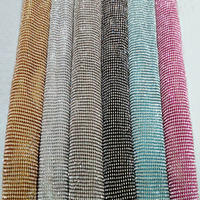 ZY 6 Metal Colors Glitter Clear Rhinestone Metal Mesh Fabric Metallic Cloth Metal Sequin Sequined Fabric