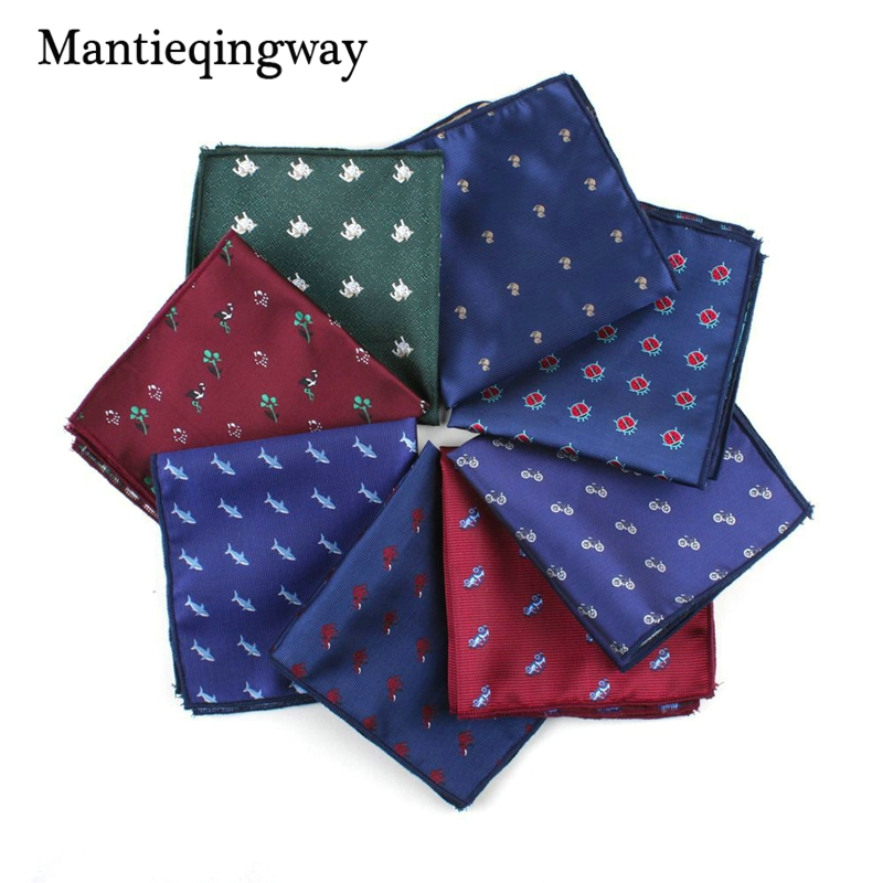 25*25cm Brand Cartoon Dog&Shake&Car Pattern Handkerchief For Men Fashion Mens Floral Pocket Square Wedding Suits