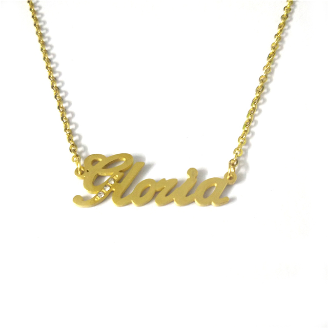 578f6ca11 FairLadyHood Gloria Personalized Name Necklace Gold Custom Name Plate  Necklaces Fashion Name Nacklace For Best Friend Jewelry