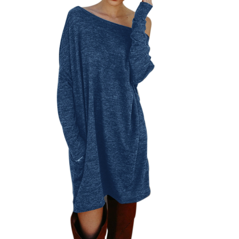 Women Dress Autunm Winter Knitted Dress O Neck Mini Vintage Loose Warm Pullover Dresses Plus Size