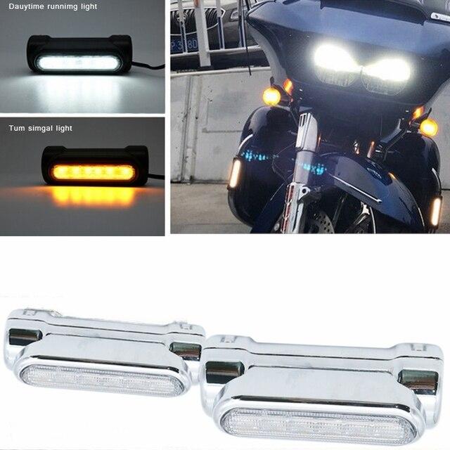 Мотоцикл шоссе бар сигнал поворота с переключателем свет белый оранжевый светодиод для аварии панелей для моделей Harley Touring для победы