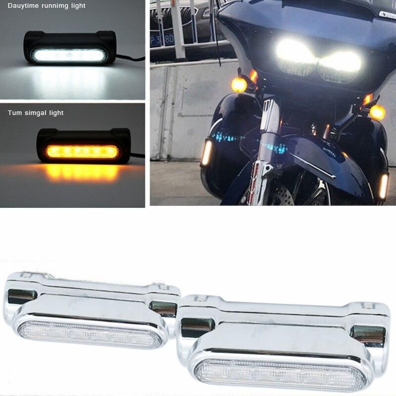 Motorcycle Highway Bar Switchback Turn Signal Light White Amber LED For Crash Bars for Harley Touring Models For victory