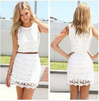 2015 Summer Women Round Neck Sleeveless White Lace Floral Lace Crochet Sexy Hollow Out Slim Dresses Summer Casual Dress
