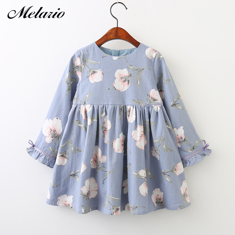 Melario Girls Dresses Fashion Kids Girl Dress Printing Long Sleeve Princess Dress Casual Kids Dresses Floral Children's Clothing