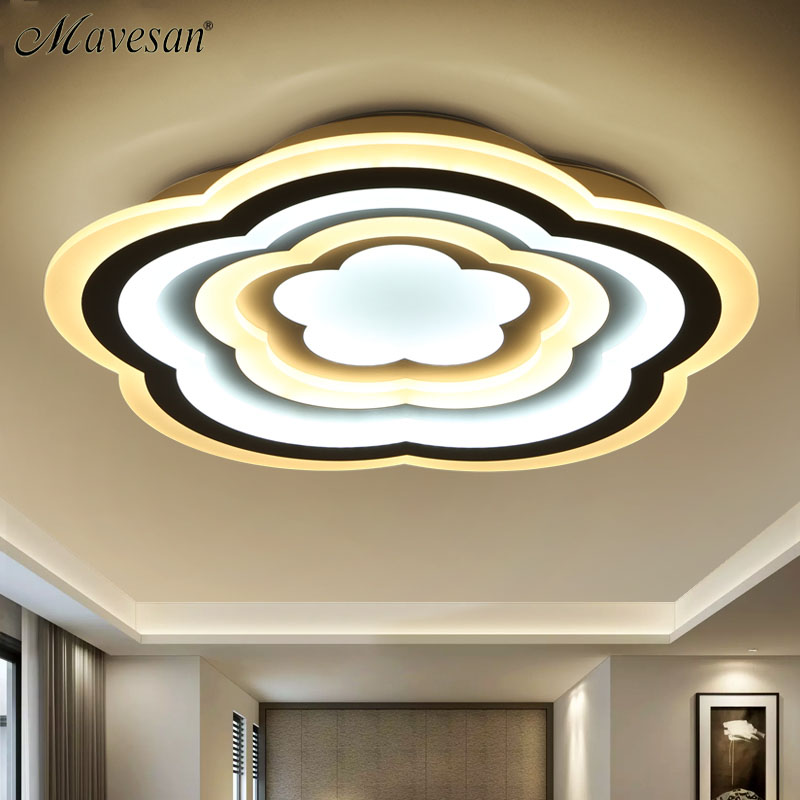 Mavesan led ceiling lights flower shape lamp remote control for Living Room bedroom modern Luminaire Home Lighting Fixtures black and white round lamp modern led light remote control dimmer ceiling lighting home fixtures