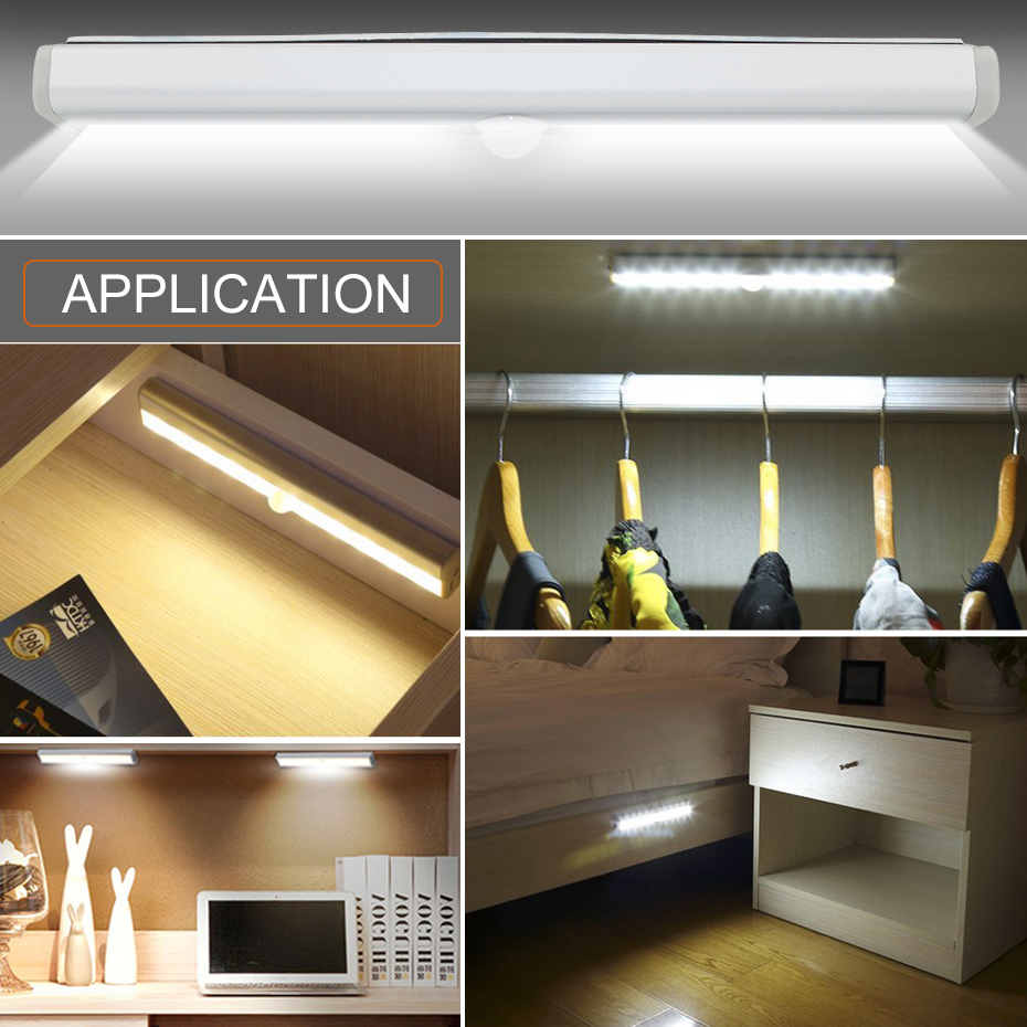 Night Light Wireless Battery Powered PIR Motion Sensor Closet Wall Lamp LED Under Cabinet Light Wardrobe Emergency Lighting 19Cm