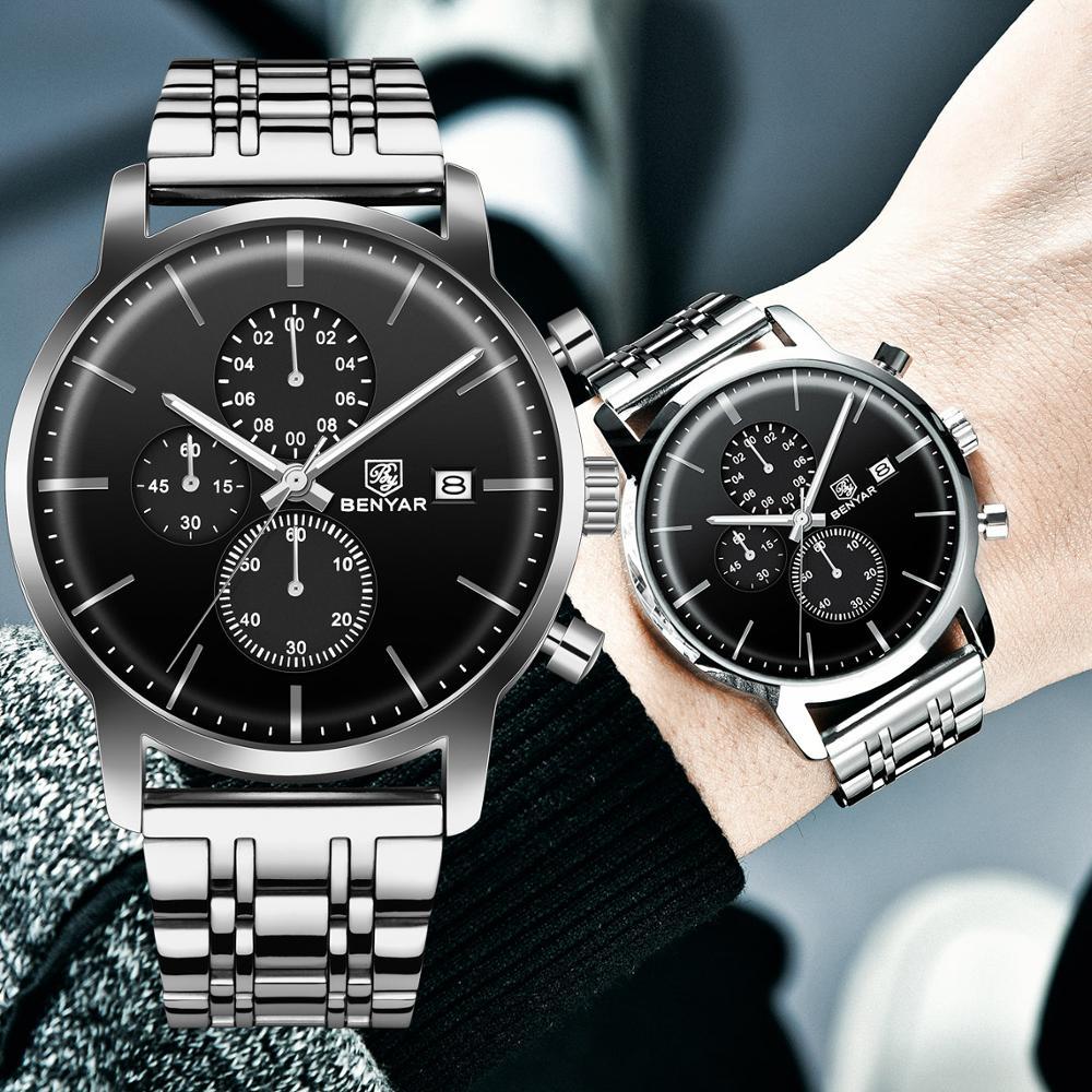 BENYAR Men Watch Stainless Steel Quartz Sport Watch Luxury Waterproof Male Chronograph Wrist Watch For Men Relogio Masculino