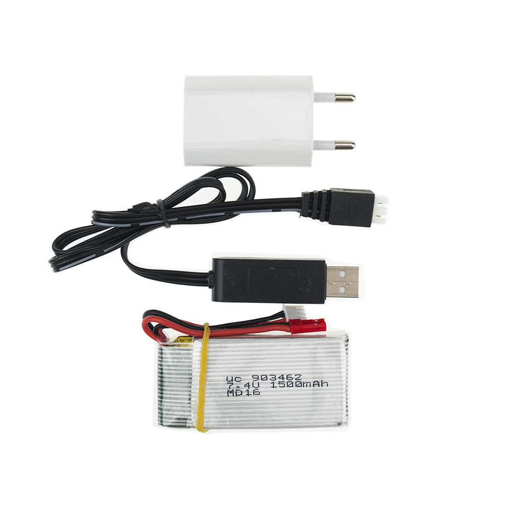 <font><b>7.4V</b></font> <font><b>1500Mah</b></font> 25C Lipo <font><b>Battery</b></font> With USB cable <font><b>charger</b></font> and EU plug adapter For WLtoys V913 Q212G V912 V262 L959 L979 JST plug image