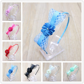 Fashion Cute Ribbon Bowkont Girls Hairbands Kids Beautiful Small Flowers Headbands Hair Hoop Hair Accessories For Women