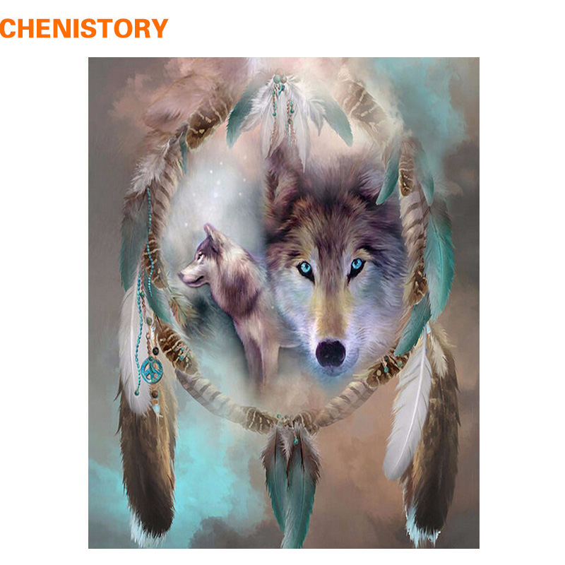 CHENISTORY Rahmenlose Wolf DIY Malerei Durch Zahlen Tiere Malerei Kalligraphie Acryl Malen Nach Zahlen Für Wohnkultur 40x50 cm