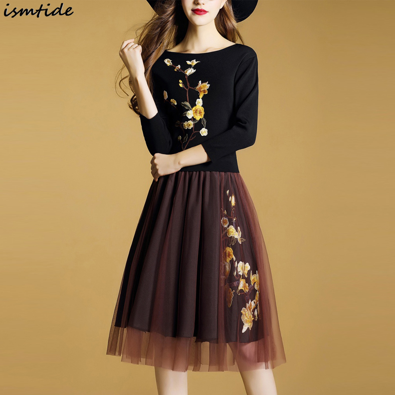 2018 Korean Sweater Spring Dress A Line Dress Embroidery Long Sleeve Knee Length O Neck Knitted Mesh Patchwork Sweater Dress