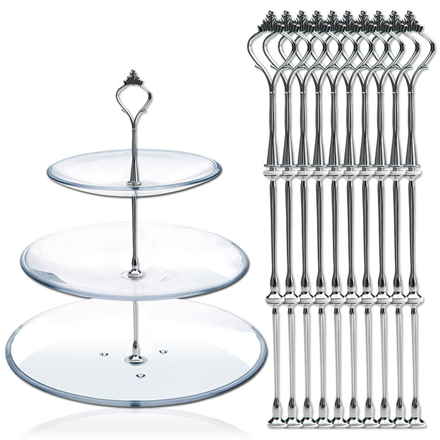 New High Quality 10pcs 3 Tier Cake Plate Stand Fittings Metal Wedding Party Cake Standing Decoration  sc 1 st  AliExpress.com & New High Quality 10pcs 3 Tier Cake Plate Stand Fittings Metal ...
