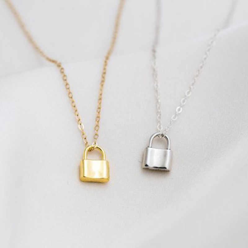 WTLTC prosty mały zamek wisiorek Chokers naszyjniki dla kobiet wiszący mały kłódka naszyjnik Dainty Charms Choker minimalna biżuteria