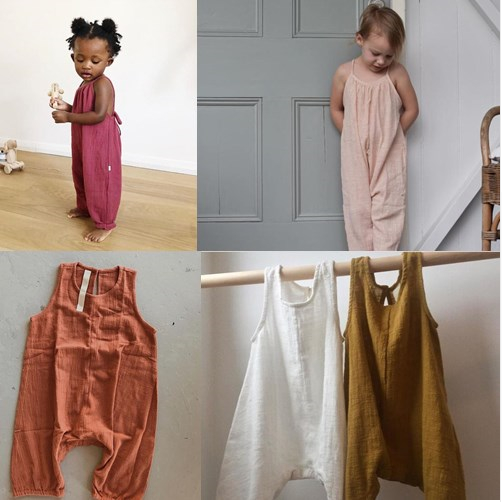 2018 Ins European Girl Overalls Baby Boy Linen Clothes Fashion Baby   Rompers   4style